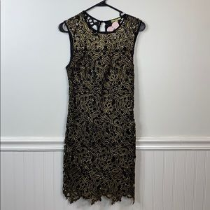 Gianni Bini Black Lace Dress with Gold Detailing